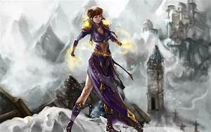 Mage, mountains, snow, castles, World of Warcraft, RPG ...