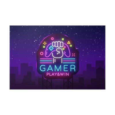 Gamer Play Win logo neon sign Vector logo design template ...