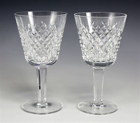 2pc Waterford Cut Crystal Alana Claret Wine Glasses