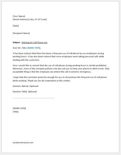 Warning Letter for Cell Phone Use at Work | Word & Excel