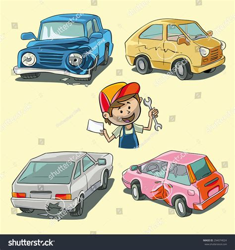 Four Types Car Damage Car Mechanic Stock Vector 294074024