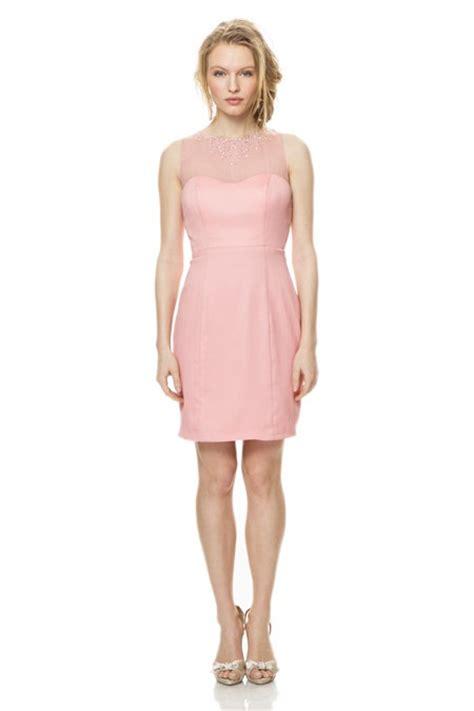 illusion beaded neckline keyhole  short blush pink