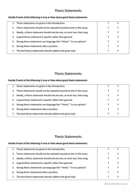 Good Thesis Statements Worksheet  Free Esl Printable Worksheets Made By Teachers