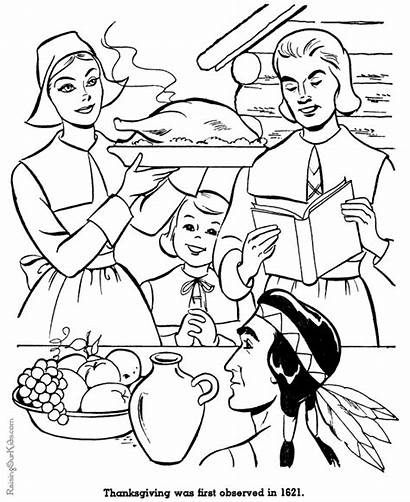 Thanksgiving Coloring Pages History American Pilgrims Dinner