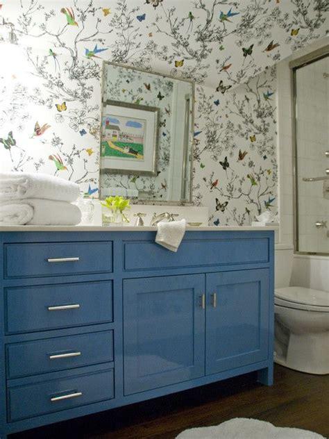 schumacher birds  butterflies wallpaper  glossy blue
