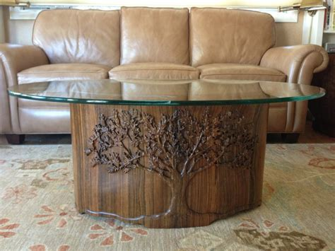 David Frisk   Furniture   Coffee Table, hand carved tree in base, carved birds in glass top #10