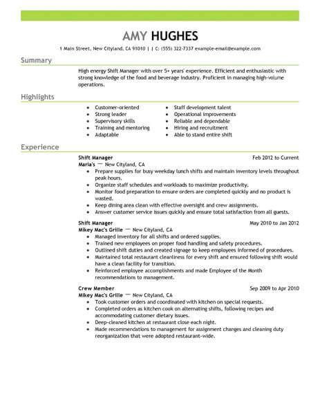 Restaurant Manager Resume Objective Statement by Best Restaurant Shift Manager Resume Exle Livecareer