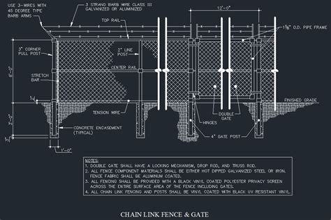 chain link fence post chain link fence gate details cad files dwg files