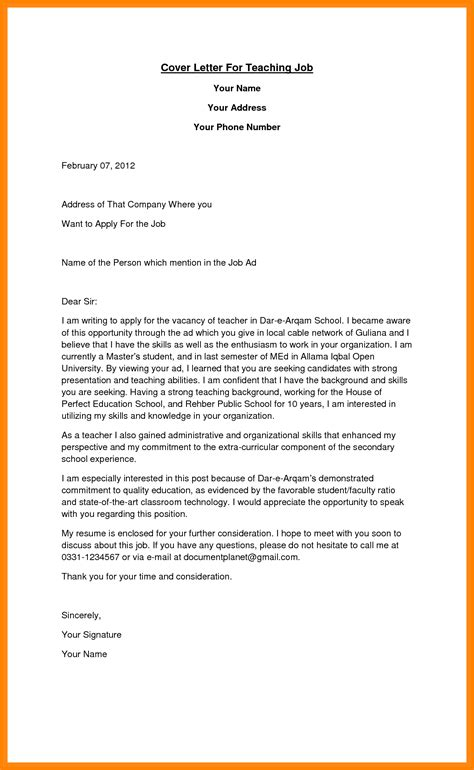 5 sle application letter for the post of teaching