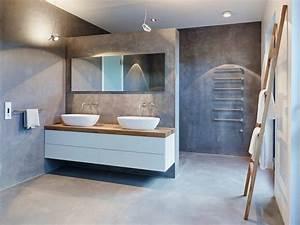 meubles blanc et bois et salle de bain beton cire With mur couleur taupe clair 2 realiser un effet pierre sur un plan de travail avec du