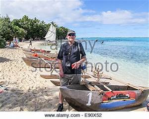 Traditional dugout outrigger canoes at Mystery Island ...