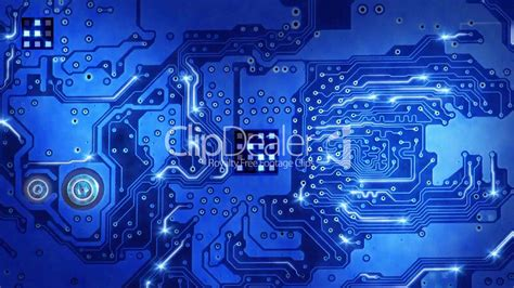 computer circuit board blue loopable background royalty