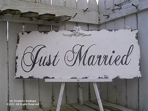 Vintage JUST MARRIED SIGN Wedding Sign 30x12 Shabby Chic