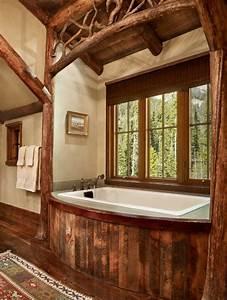 maison rustique entierement en bois au montana etats With salle de bain design avec evier rustique