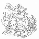 Coloring Tea Adult Colouring Adults Mandala sketch template