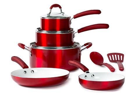 bella  piece nonstick ceramic cookware set red kmart
