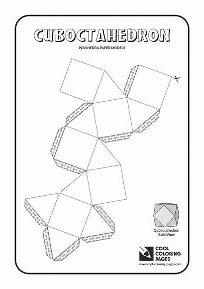 Models Paper Coloring Pages Polyhedra Cuboctahedron Cool