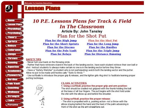Plan For The Pole Vault Lesson Plan For 9th