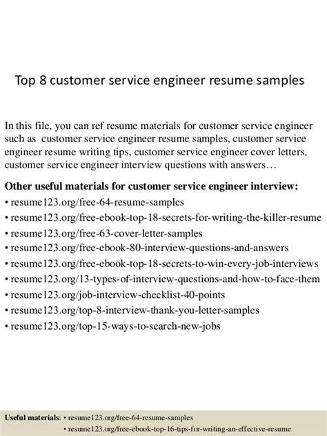 Customer Service Engineer Resume top 8 customer service engineer resume sles