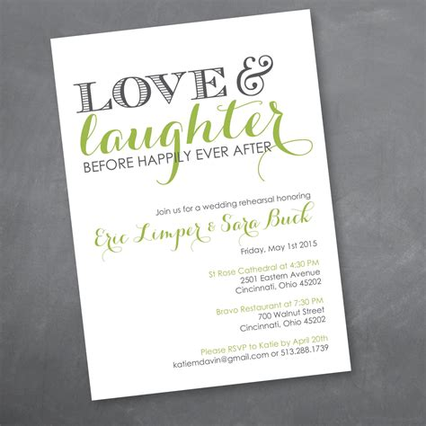 Love and Laughter Rehearsal Dinner Invitation Digital Design