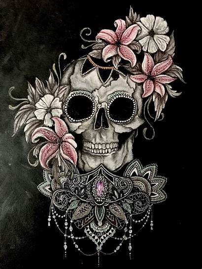 Skull Sugar Tattoo Wallpapers Rose Girly Skulls