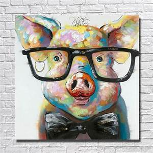 2018 Modern Canvas Art Hand Made Pig With Glasses Oil