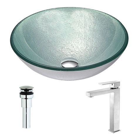 silver vessel sink home depot anzzi spirito series deco glass vessel sink in churning