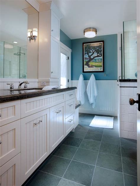 blue  white bathroom  beadboard hgtv