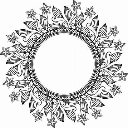Circle Vector Floral Deco Mandala Coloring Frame