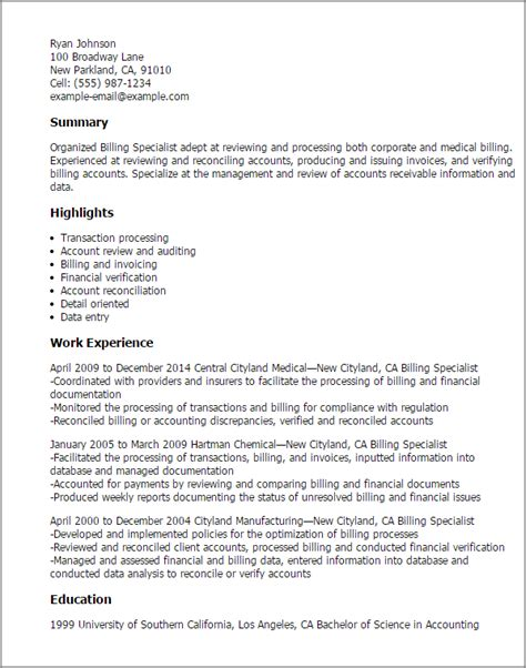 Biller Resume by Professional Billing Specialist Templates To Showcase Your