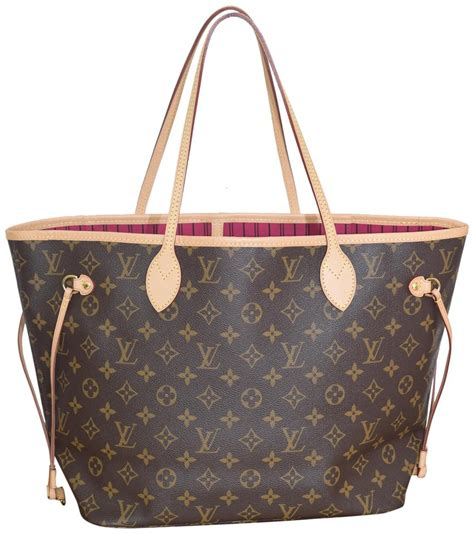 louis vuitton neverfull    interior monogram  pink textile lining coated canvas
