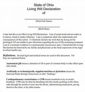 Sample living will 8 documents in pdf for Ohio living will template