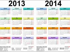 Two year calendars for 2013 & 2014 UK for Excel