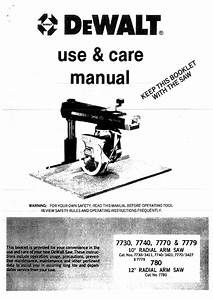 Dewalt 7730 Saw Use And Care Manual Pdf View  Download