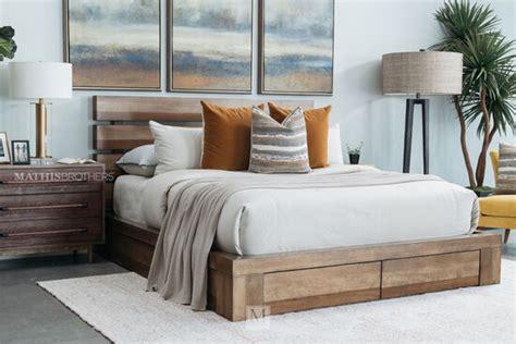 mid century modern planked storage bed  brown mathis