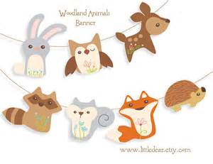 baby shower clothespin printable woodland animals banner pdf by littledear on etsy
