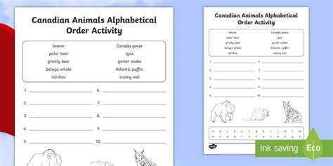 canadian animals alphabetical order worksheet