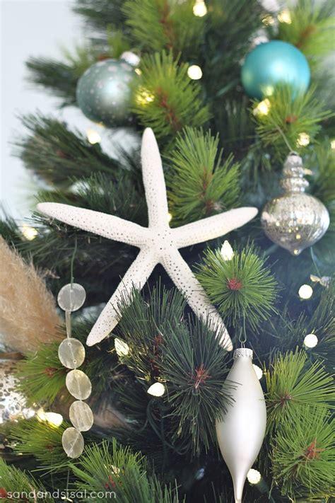 coastal christmas tree ornaments coastal tree sand and sisal
