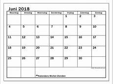 Kalenders juni 2018 MZ Michel Zbinden NL