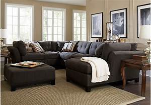 Cindy crawford metropolis slate 4pc sectional living room for Sectional sofa at rooms to go