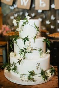 White and Green Rustic Wedding Cake