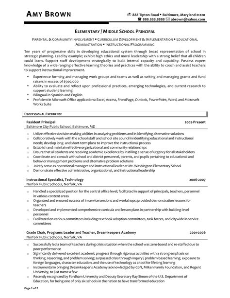 resume for school administrator principal resumes resume ideas
