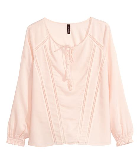 h m blouses h m blouse with lace in pink powder pink lyst