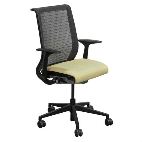 steelcase think used mesh back conference chair yellow