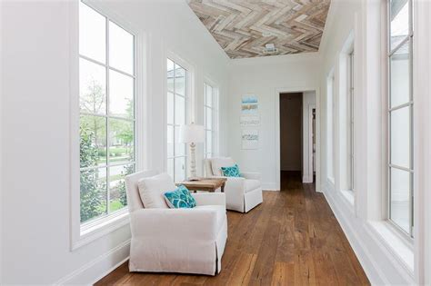 wood herringbone ceiling cottage entrancefoyer