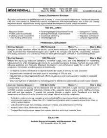 general overview for resume sle restaurant manager resume recentresumes