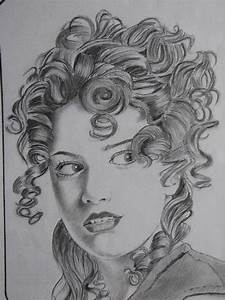 Curly Hair Girl Drawing by Mayur Jadhav