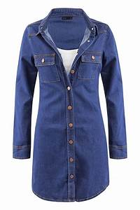 Womens Casual Cotton Button Down Vintage Long Sleeve Denim Jean Shirt Dress