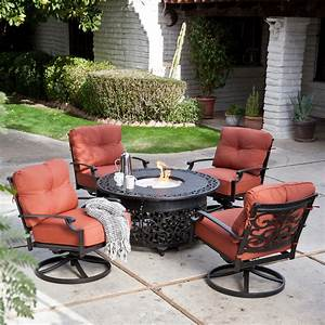 Belham living san miguel cast aluminum fire pit chat set for Outdoor patio fire pit sets