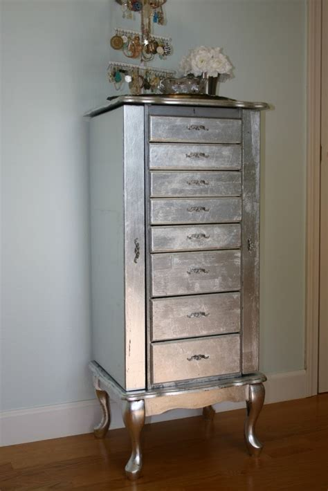 Diy Jewelry Armoire by Jen Uinely Inspired Diy Silver Leaf Jewelry Cabinet